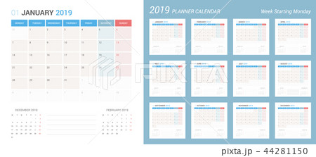vector of 2019 calendar simple planner design のイラスト素材