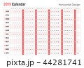 Horizontal 2019 Calendar design.Vector simple. 44281741