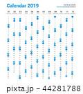Vertical 2019 calendar vector design. 44281788
