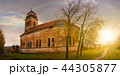abandoned catholic church on hill at sunset 44305877