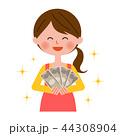 女性 お金 主婦のイラスト 44308904