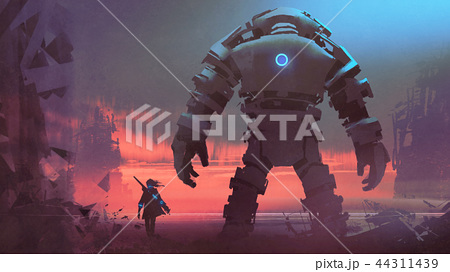 giant robot looking at sunset sky 44311439
