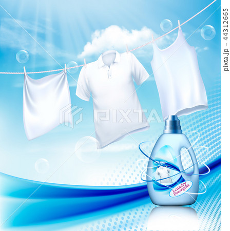 Laundry detergent ad White clothes hanging on rope 44312665