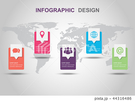 infographic design template with shadowのイラスト素材 44316486 pixta