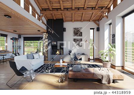 modern chalet interior. 44318959