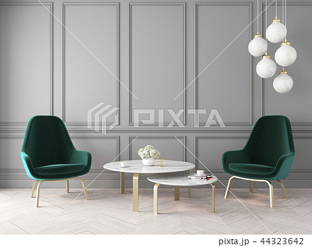 Modern classic interior with armchairs, lamp, table, wall panels and wooden floor. 44323642