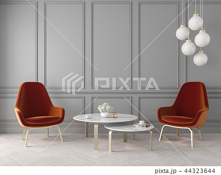 Modern classic interior with armchairs, lamp, table, wall panels and wooden floor. 44323644