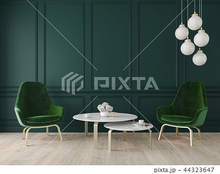 Modern classic interior with armchairs, lamp, table, wall panels and wooden floor. 44323647