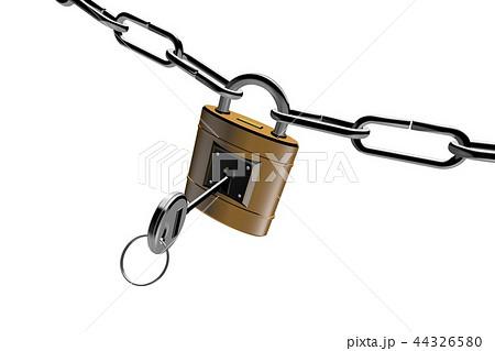 防犯イメージ(南京錠タイプ)白バック 44326580
