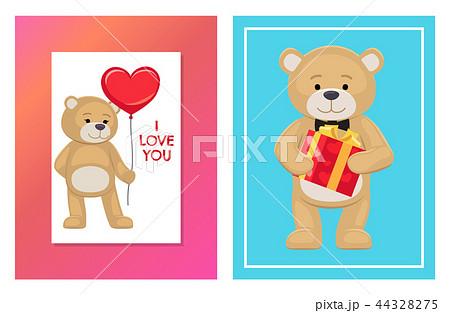 I Love You and Me Teddy Bears Vector 44328275