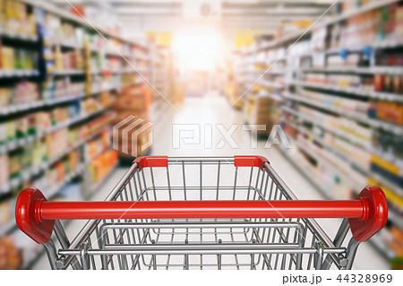 Empty shopping cart in supermarket. 44328969