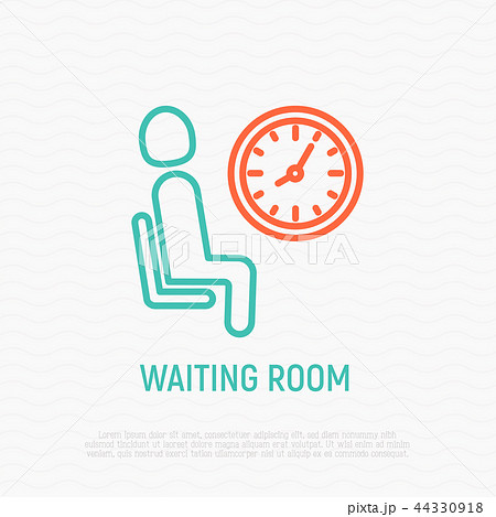 waiting room sign man sits on chair near clockのイラスト素材