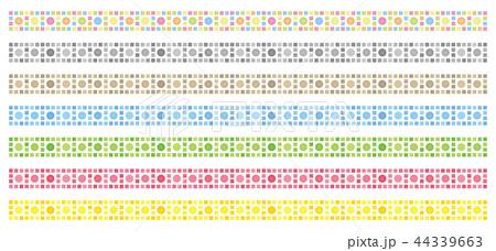 整列する円と正方形の飾り罫 44339663