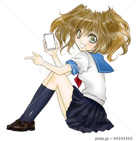 女子高生 制服 イラスト まんが アニメ 漫画 キャラクター かわいい