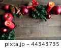林檎とクリスマスツリーのフレーム 黒木材背景 44343735