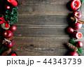 林檎とクリスマスツリーのフレーム 黒木材背景 44343739
