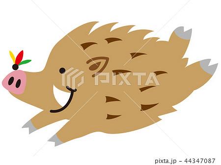 羽根つきの羽根とイノシシ 44347087