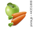 Green apple, carrots isolated on white background 44351808