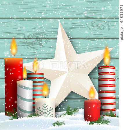 Christmas still-life with candles and star 44351971