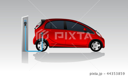Red electric car with charging station. 44353859