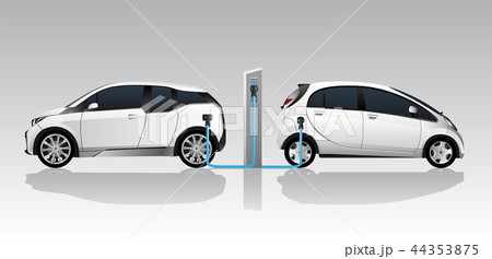 Two white electric cars  44353875