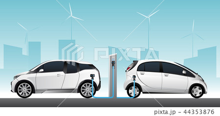 Two white electric cars  44353876