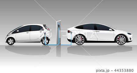 Two white electric cars  44353880