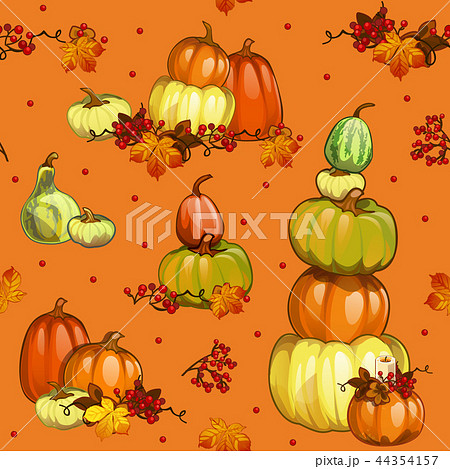 funny seamless background with texture of ripe pumpkins on theme of