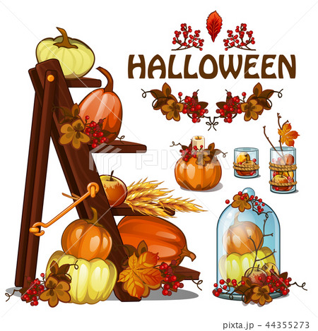 set of elements to create a poster on theme of halloween holiday