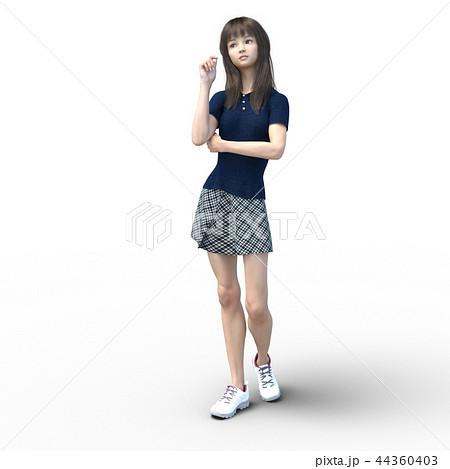 考えるポーズのカジュアルファッションの女性 perming4DCGイラスト素材 44360403
