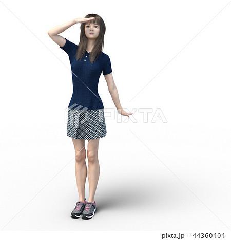 空を見上げるカジュアルファッションの女性 perming4DCGイラスト素材 44360404