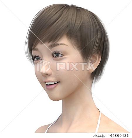 女性 ヘアスタイル perming3DCG イラスト素材 44360481