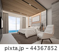 Master bedroom in hotel with sea view,3d rendering 44367852