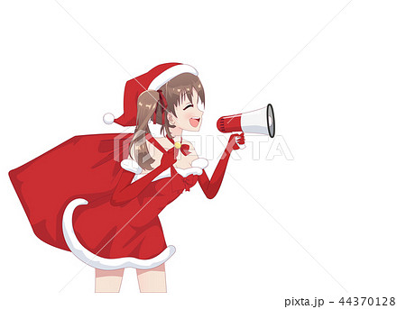 Anime manga girl dressed in Santa Claus costume 44370128