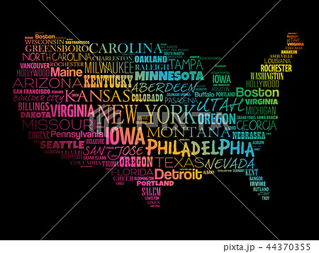 usa map word cloud collageのイラスト素材 44370355 pixta