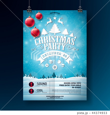 christmas party flyer illustration with typography lettering and