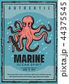 Marine adventure ocean octopus, vector 44375545