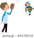 父 子供 キャッチボールのイラスト 44376010