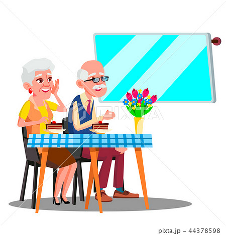 Happy Elderly Couple Sitting In Cafe And Watching In Digital Screen Vector. Isolated Illustration 44378598