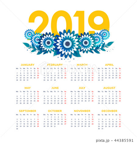 Vector of 2019 new year calendar with flowers 44385591