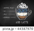コーヒー ラテ 飲み物のイラスト 44387970