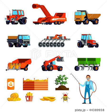 Potato Cultivation Flat Icons Set 44389938
