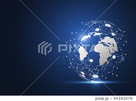 Global network connection. World map point 44391076
