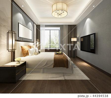 beautiful luxury bedroom suite in hotel with tv 44394538