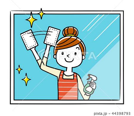 窓の掃除をする主婦、女性 44398793