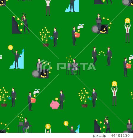 Cartoon Blockchain Concept Seamless Pattern Background. Vector 44401150