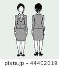 女性 若い モノクロのイラスト 44402019