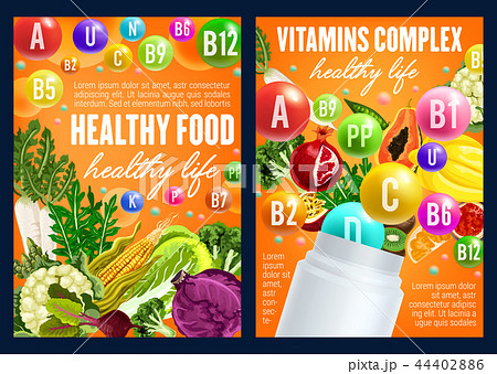 Healthy nitrition, vegetables and fruits vitamins 44402886