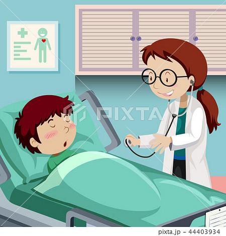 A boy resting in hospital 44403934