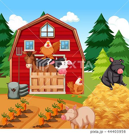 animals at the farmのイラスト素材 44403956 pixta